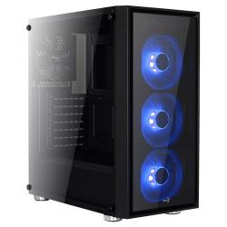 AEROCOOL,QUARTZ,-,Tempered,Glass,Mid,Tower,-,Triple,Blue,Fans,