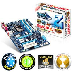 GIGABYTE,GA-Z68AP-D3,Intel,Z68,(REV,B3),Socket,1155,DDR3,PCI-Express,Motherboard,