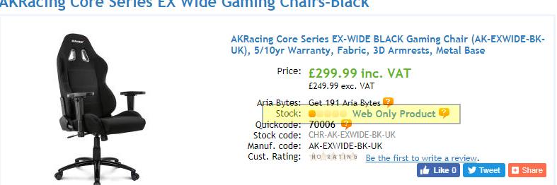 How Web Only items are shown on product pages