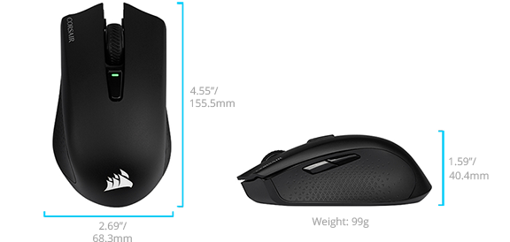 Wireless Corsair Harpoon dimensions